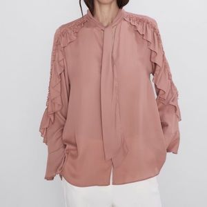 Zara Flowy Ruffle Neck Tie Long Sleeve Blouse S L